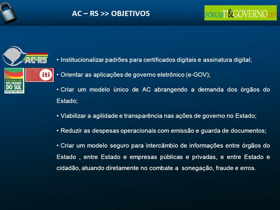 AC – RS >> OBJETIVOS Institucionalizar padrões para certificados digitais e assinatura digital; Orientar as aplicações de governo eletrônico (e-GOV);
