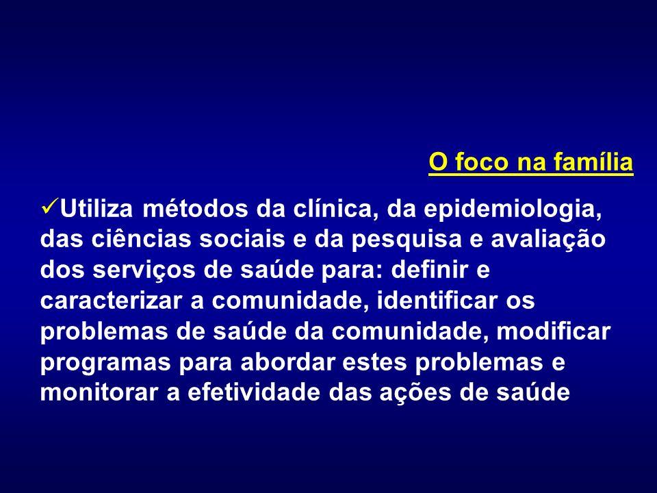 O foco na família Utiliza métodos da clínica, da epidemiologia, das ciências sociais e da pesquisa e avaliação dos serviços de saúde para: definir e c