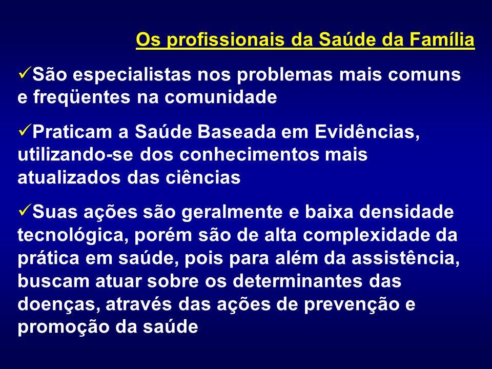 Os profissionais da Saúde da Família São especialistas nos problemas mais comuns e freqüentes na comunidade Praticam a Saúde Baseada em Evidências, ut