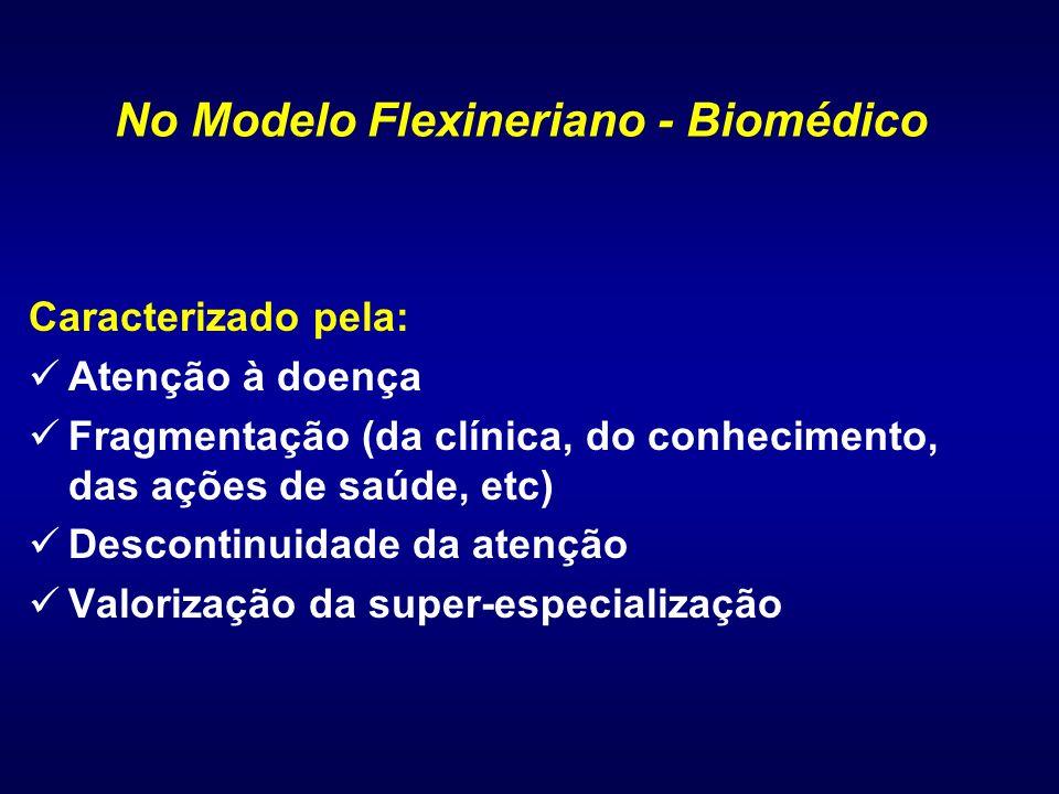 Caracterizado pela: Atenção à doença Fragmentação (da clínica, do conhecimento, das ações de saúde, etc) Descontinuidade da atenção Valorização da sup