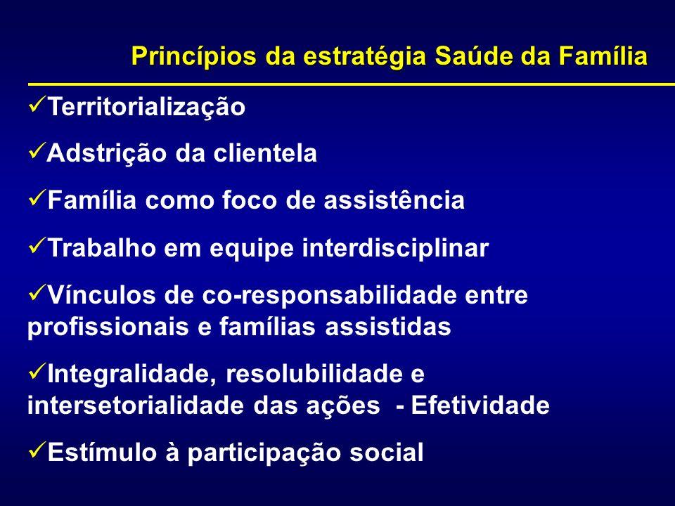 Princípios da estratégia Saúde da Família Territorialização Adstrição da clientela Família como foco de assistência Trabalho em equipe interdisciplina