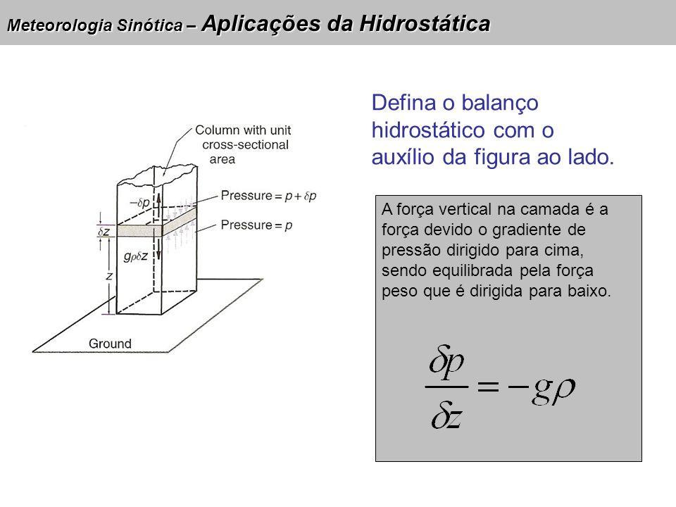 Meteorologia Sinótica – Aplicações da Hidrostática Variação de pressão (Pa) Densidade (kg/m³) Gravidade (m/s²) Variação de altura (m) Discuta o significado físico dessa equação.