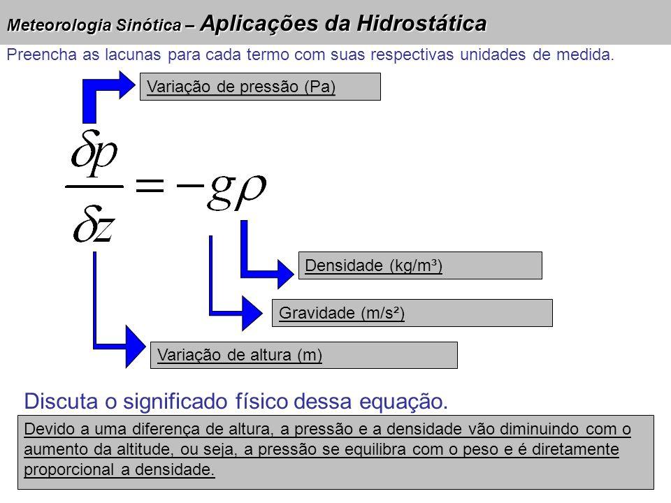 Meteorologia Sinótica – Aplicações da Hidrostática Variação de pressão (Pa) Densidade (kg/m³) Gravidade (m/s²) Variação de altura (m) Discuta o signif