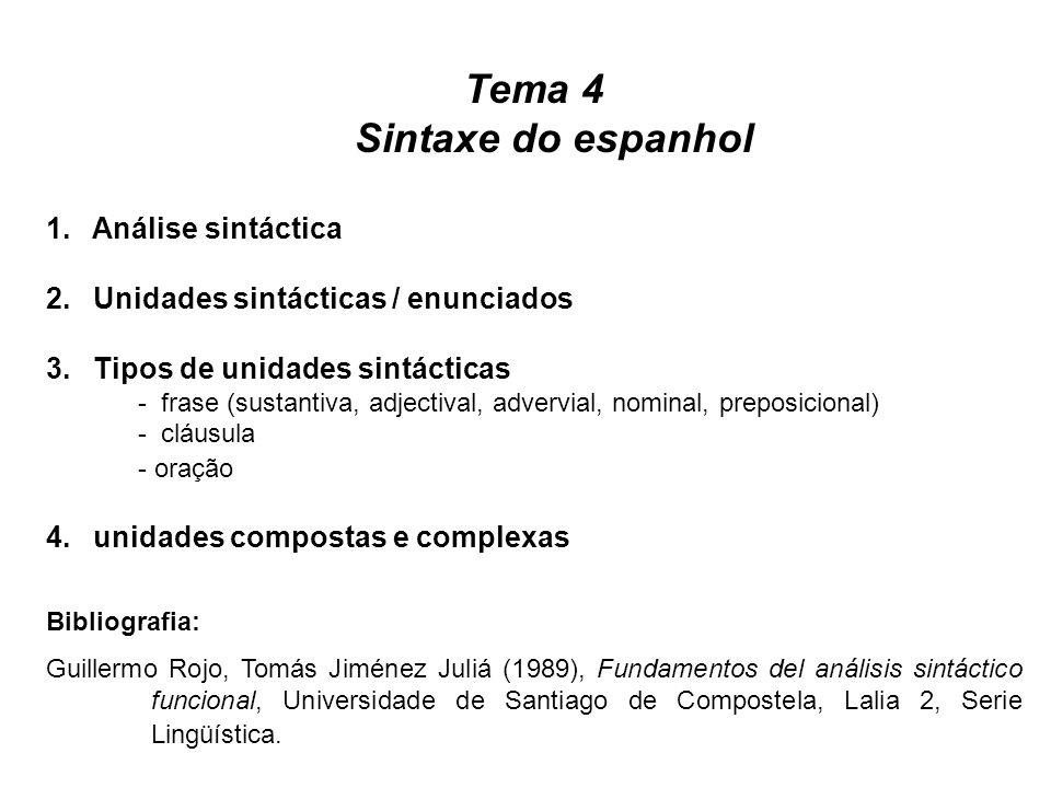 Tema 4 Sintaxe do espanhol 1. Análise sintáctica 2. Unidades sintácticas / enunciados 3. Tipos de unidades sintácticas - frase (sustantiva, adjectival