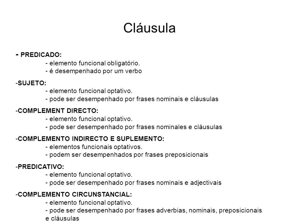 Cláusula - PREDICADO: - elemento funcional obligatório. - é desempenhado por um verbo -SUJETO: - elemento funcional optativo. - pode ser desempenhado