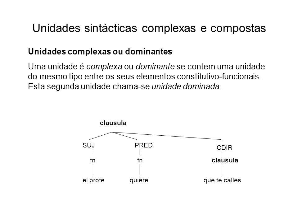 Unidades sintácticas complexas e compostas Unidades complexas ou dominantes Uma unidade é complexa ou dominante se contem uma unidade do mesmo tipo en