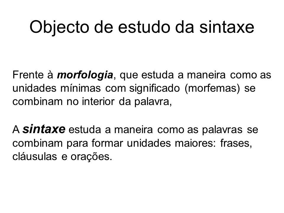Objecto de estudo da sintaxe Frente à morfologia, que estuda a maneira como as unidades mínimas com significado (morfemas) se combinam no interior da