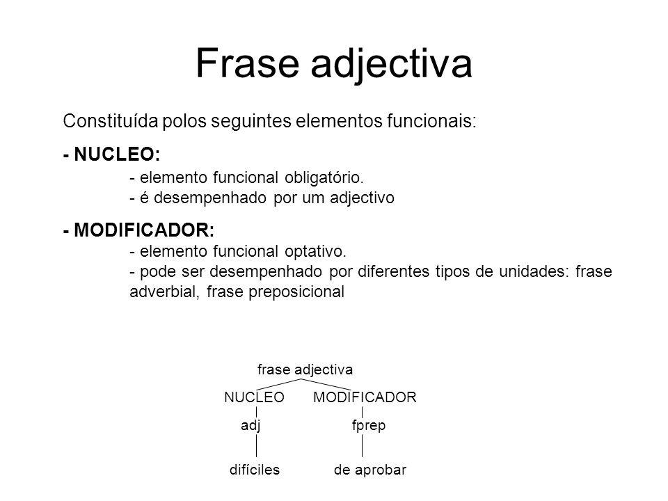 Frase adjectiva Constituída polos seguintes elementos funcionais: - NUCLEO: - elemento funcional obligatório. - é desempenhado por um adjectivo - MODI