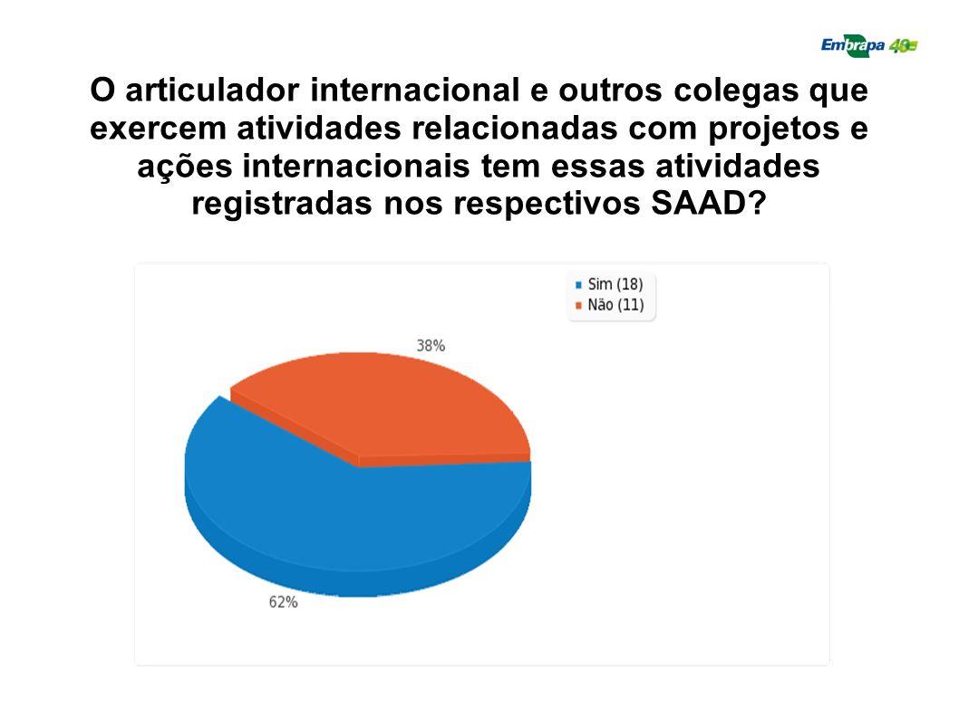 O articulador internacional e outros colegas que exercem atividades relacionadas com projetos e ações internacionais tem essas atividades registradas
