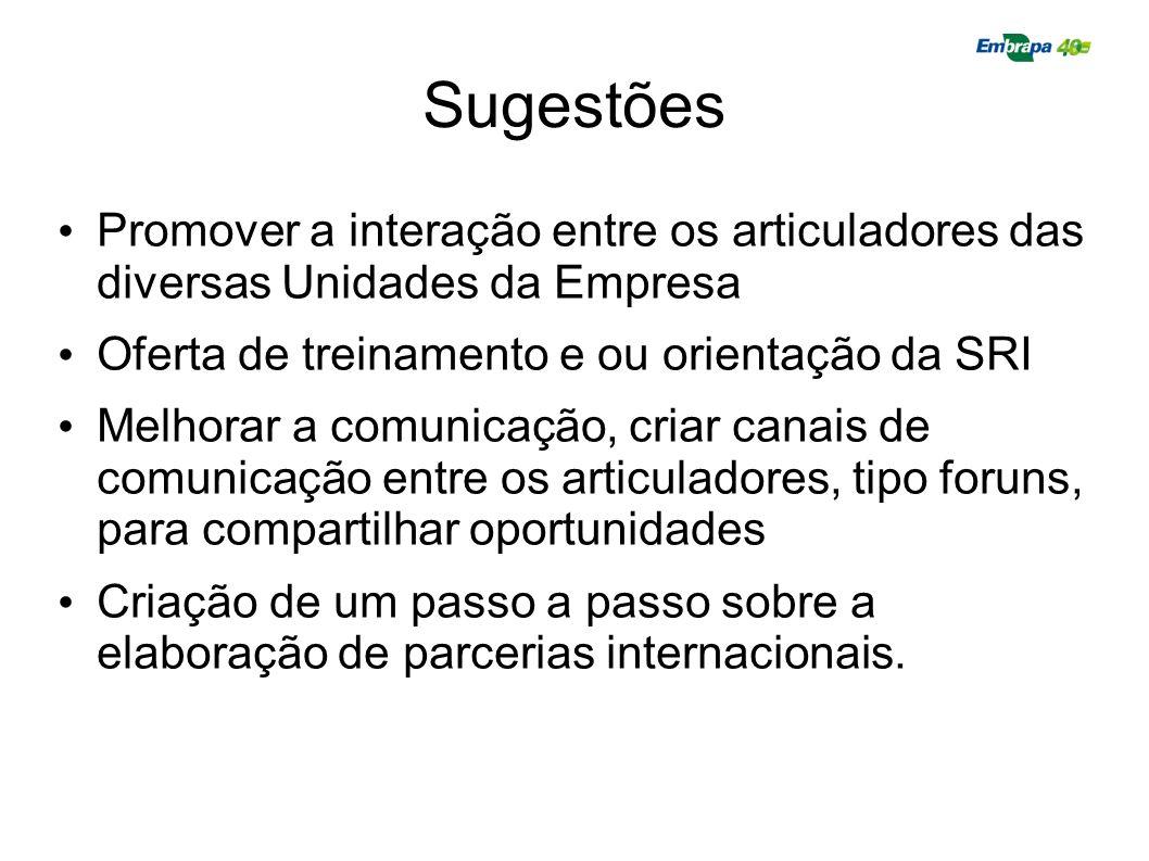 Sugestões Promover a interação entre os articuladores das diversas Unidades da Empresa Oferta de treinamento e ou orientação da SRI Melhorar a comunic