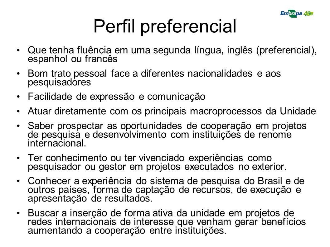 Perfil preferencial Que tenha fluência em uma segunda língua, inglês (preferencial), espanhol ou francês Bom trato pessoal face a diferentes nacionali
