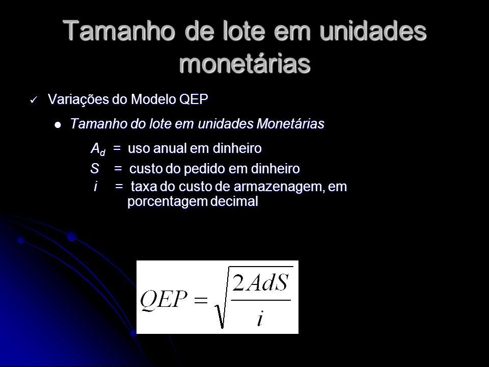 Tamanho de lote em unidades monetárias Variações do Modelo QEP Variações do Modelo QEP Tamanho do lote em unidades Monetárias Tamanho do lote em unidades Monetárias A d = uso anual em dinheiro S = custo do pedido em dinheiro S = custo do pedido em dinheiro i = taxa do custo de armazenagem, em porcentagem decimal i = taxa do custo de armazenagem, em porcentagem decimal