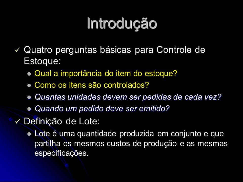 Introdução Quatro perguntas básicas para Controle de Estoque: Qual a importância do item do estoque.