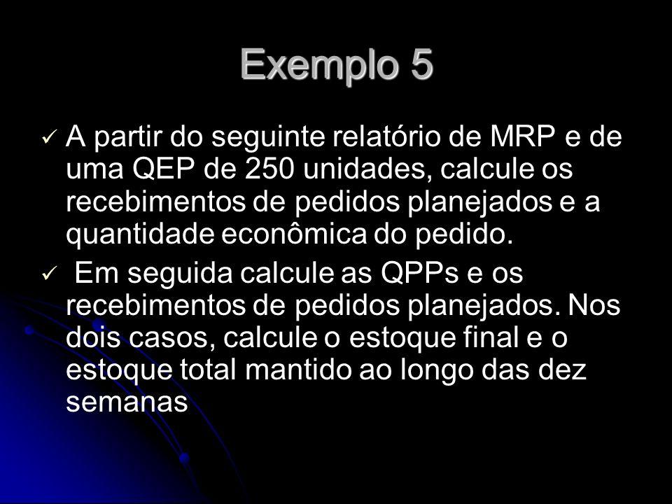 Exemplo 5 A partir do seguinte relatório de MRP e de uma QEP de 250 unidades, calcule os recebimentos de pedidos planejados e a quantidade econômica do pedido.