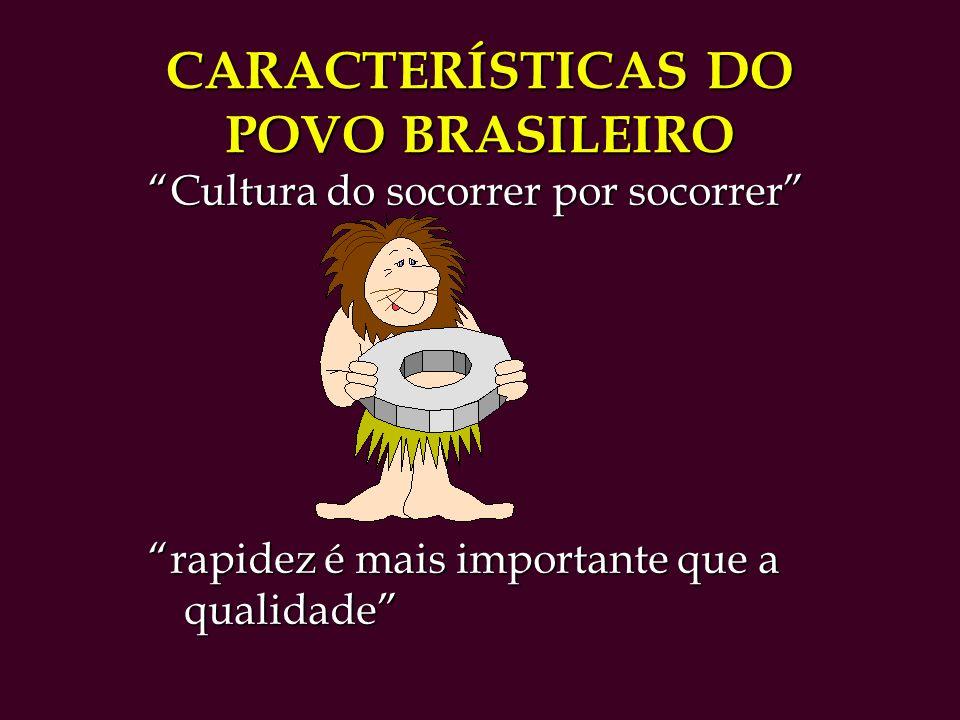 CARACTERÍSTICAS DO POVO BRASILEIRO Cultura do socorrer por socorrer rapidez é mais importante que a qualidade