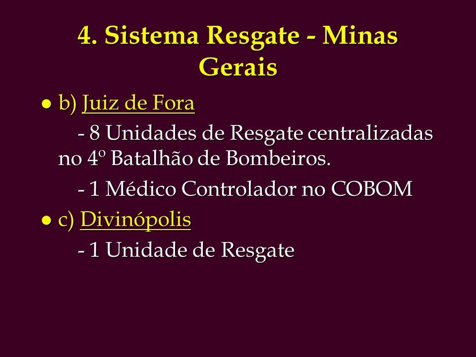 4. Sistema Resgate - Minas Gerais l b) Juiz de Fora - 8 Unidades de Resgate centralizadas no 4º Batalhão de Bombeiros. - 8 Unidades de Resgate central