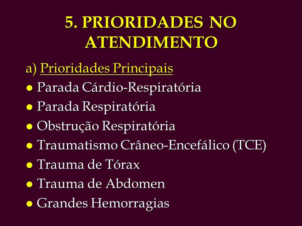 5. PRIORIDADES NO ATENDIMENTO a) Prioridades Principais l Parada Cárdio-Respiratória l Parada Respiratória l Obstrução Respiratória l Traumatismo Crân