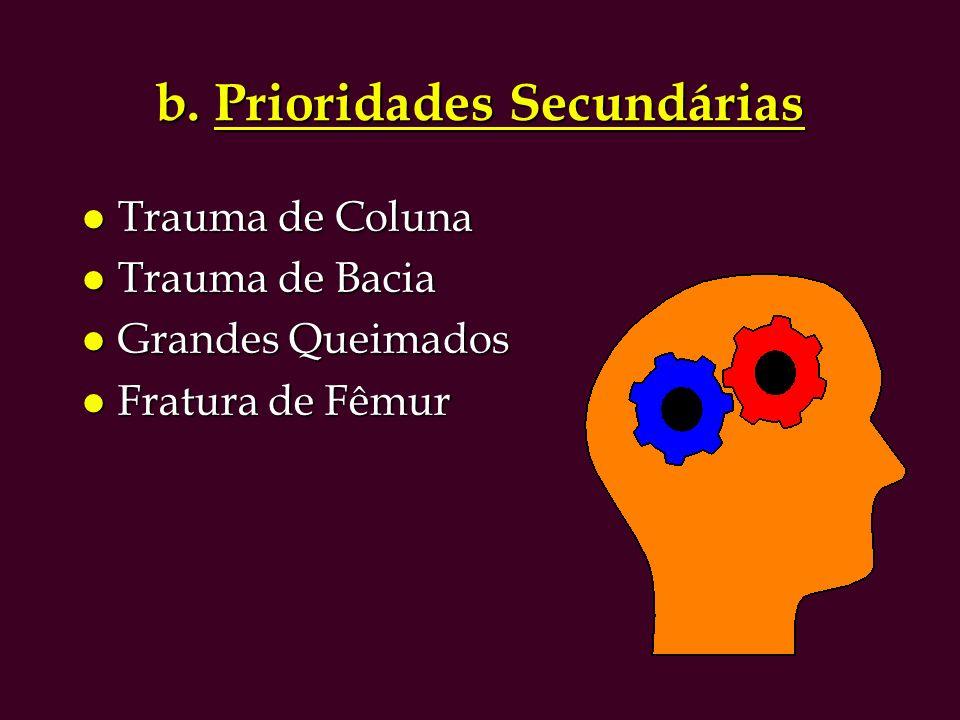 b. Prioridades Secundárias l Trauma de Coluna l Trauma de Bacia l Grandes Queimados l Fratura de Fêmur