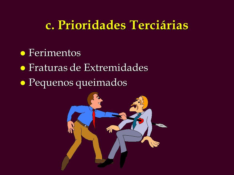 c. Prioridades Terciárias l Ferimentos l Fraturas de Extremidades l Pequenos queimados