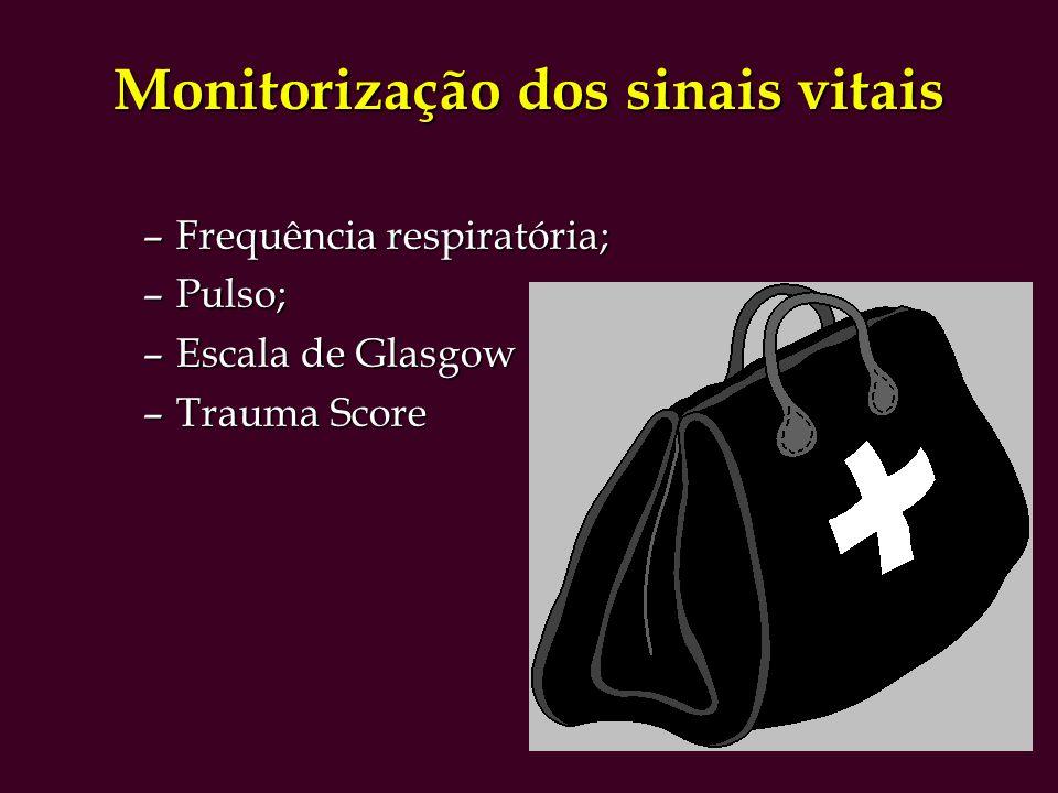 Monitorização dos sinais vitais –Frequência respiratória; –Pulso; –Escala de Glasgow –Trauma Score
