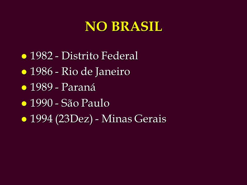 NO BRASIL l 1982 - Distrito Federal l 1986 - Rio de Janeiro l 1989 - Paraná l 1990 - São Paulo l 1994 (23Dez) - Minas Gerais