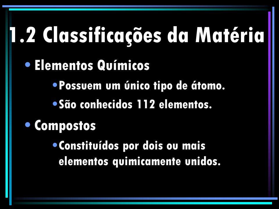 1.2 Classificações da Matéria Elementos Químicos Possuem um único tipo de átomo. São conhecidos 112 elementos. Compostos Constituídos por dois ou mais