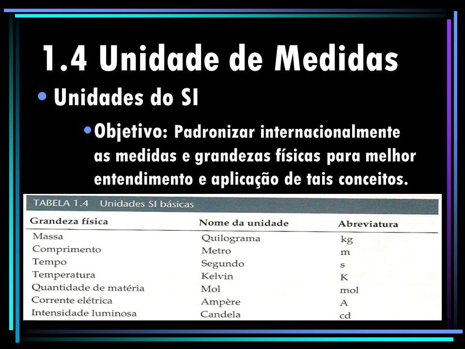 1.4 Unidade de Medidas Unidades do SI Objetivo: Padronizar internacionalmente as medidas e grandezas físicas para melhor entendimento e aplicação de t