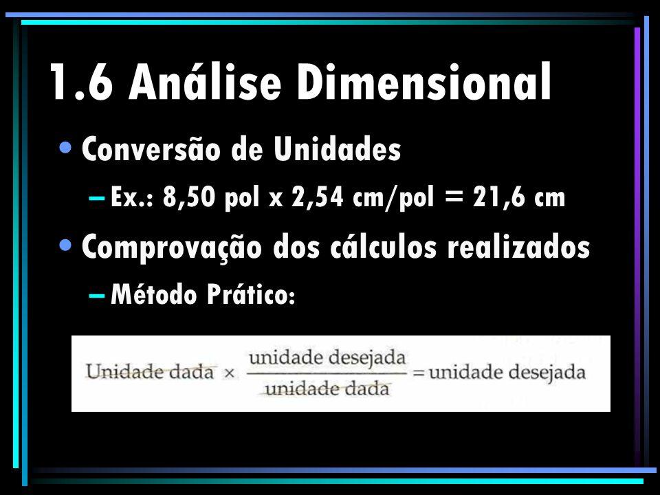 1.6 Análise Dimensional Conversão de Unidades –Ex.: 8,50 pol x 2,54 cm/pol = 21,6 cm Comprovação dos cálculos realizados –Método Prático :