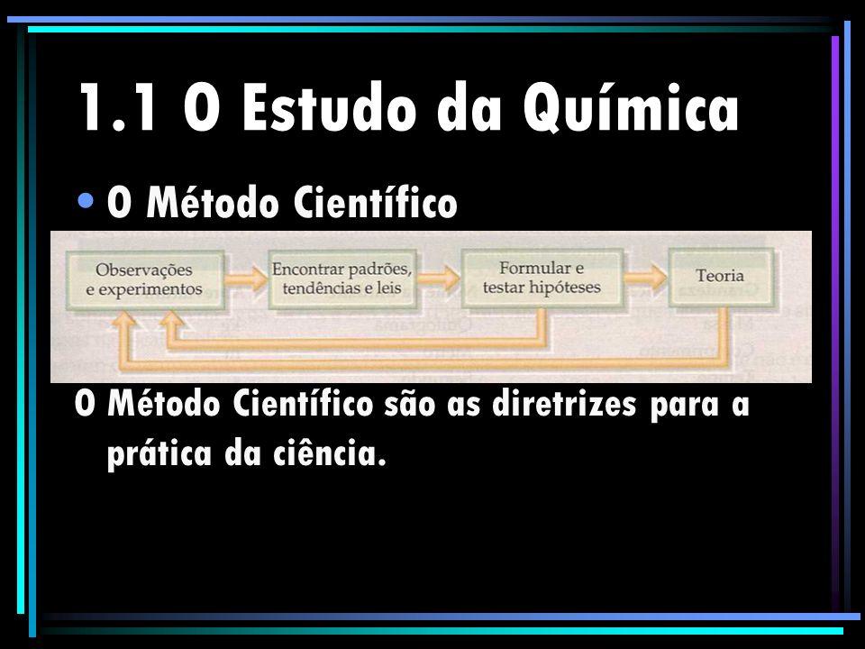 1.1 O Estudo da Química O Método Científico O Método Científico são as diretrizes para a prática da ciência.