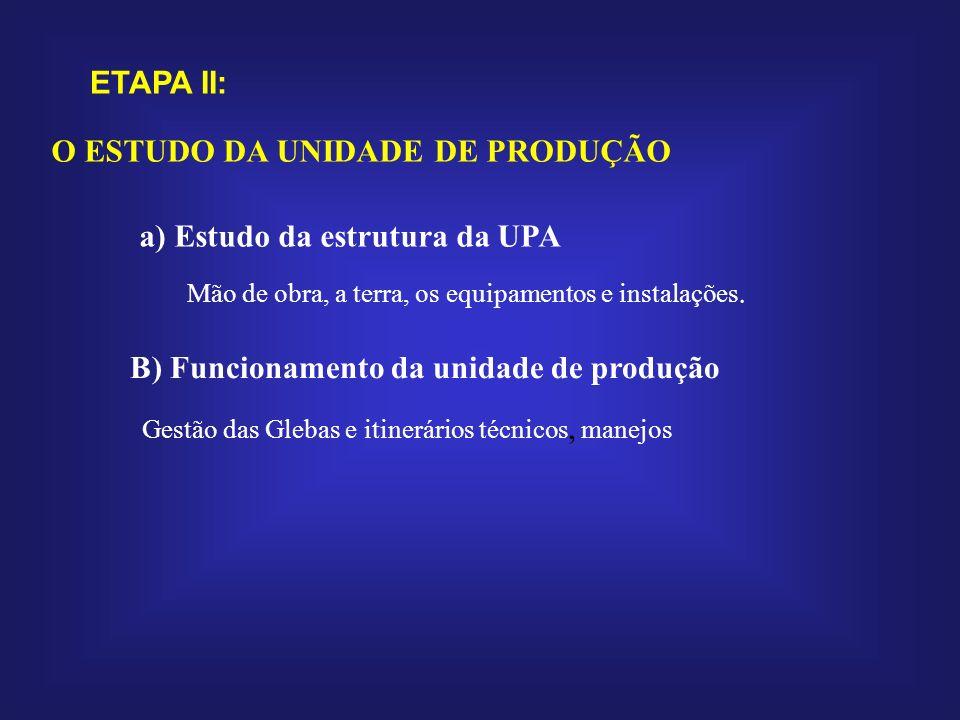 ETAPA II: B) Funcionamento da unidade de produção Gestão das Glebas e itinerários técnicos, manejos a) Estudo da estrutura da UPA Mão de obra, a terra