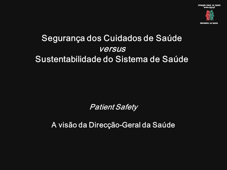 Direcção-Geral da Saúde www.dgs.pt Ministério da Saúde Patient Safety A visão da Direcção-Geral da Saúde Segurança dos Cuidados de Saúde versus Sustentabilidade do Sistema de Saúde