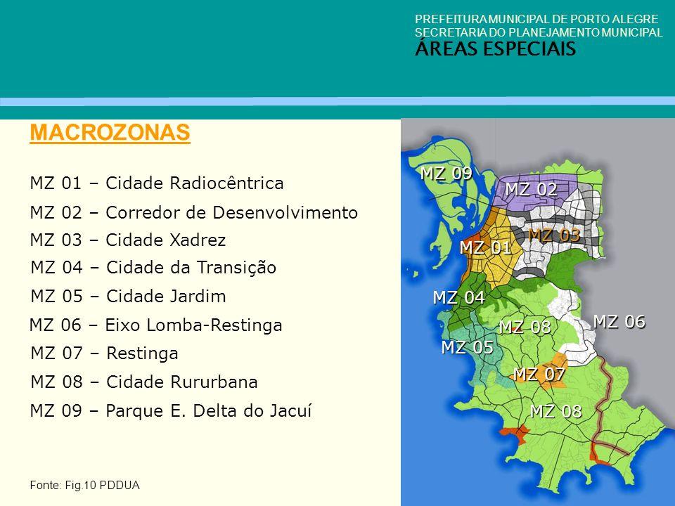 PREFEITURA MUNICIPAL DE PORTO ALEGRE SECRETARIA DO PLANEJAMENTO MUNICIPAL ÁREAS ESPECIAIS MACROZONAS Fonte: Fig.10 PDDUA MZ 01 – Cidade Radiocêntrica