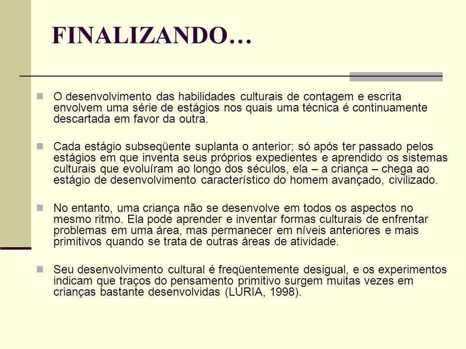 FINALIZANDO… O desenvolvimento das habilidades culturais de contagem e escrita envolvem uma série de estágios nos quais uma técnica é continuamente de
