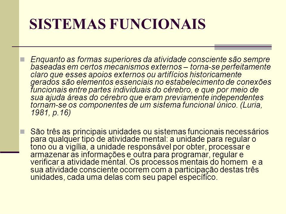 SISTEMAS FUNCIONAIS Enquanto as formas superiores da atividade consciente são sempre baseadas em certos mecanismos externos – torna-se perfeitamente c