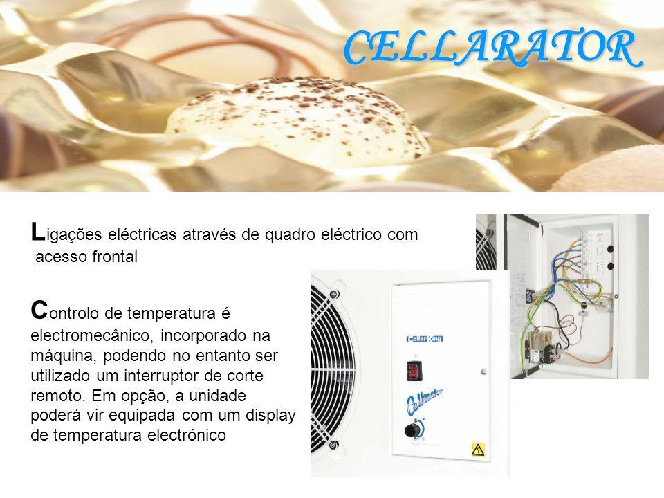 C ontrolo de temperatura é electromecânico, incorporado na máquina, podendo no entanto ser utilizado um interruptor de corte remoto.
