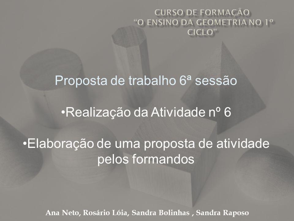 Ana Neto, Rosário Lóia, Sandra Bolinhas, Sandra Raposo Proposta de trabalho 6ª sessão Realização da Atividade nº 6 Elaboração de uma proposta de ativi