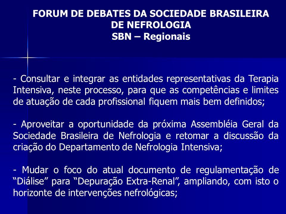 FORUM DE DEBATES DA SOCIEDADE BRASILEIRA DE NEFROLOGIA SBN – Regionais - Consultar e integrar as entidades representativas da Terapia Intensiva, neste