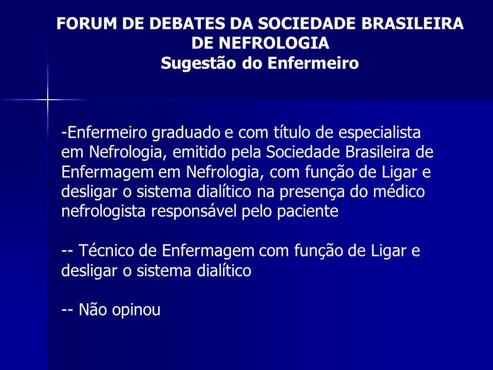 FORUM DE DEBATES DA SOCIEDADE BRASILEIRA DE NEFROLOGIA Sugestão do Enfermeiro -Enfermeiro graduado e com título de especialista em Nefrologia, emitido