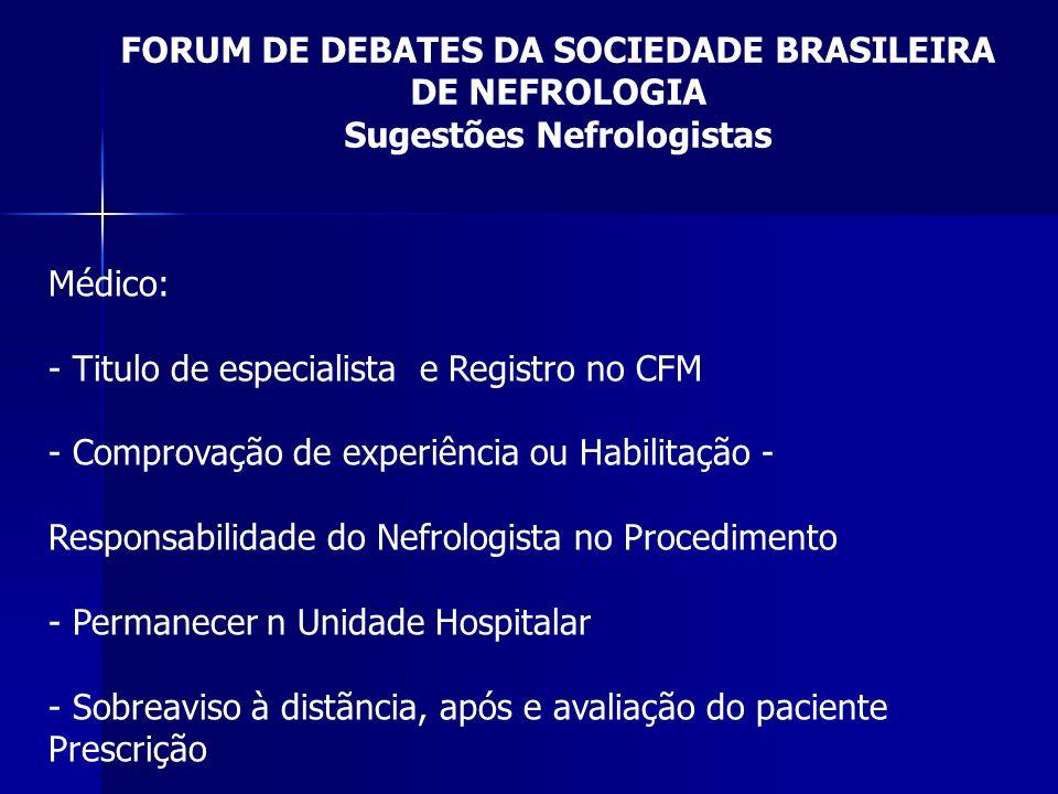 FORUM DE DEBATES DA SOCIEDADE BRASILEIRA DE NEFROLOGIA Sugestões Nefrologistas Médico: - Titulo de especialista e Registro no CFM - Comprovação de exp