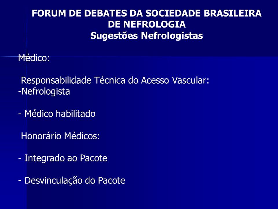FORUM DE DEBATES DA SOCIEDADE BRASILEIRA DE NEFROLOGIA Sugestões Nefrologistas Médico: Responsabilidade Técnica do Acesso Vascular: -Nefrologista - Mé