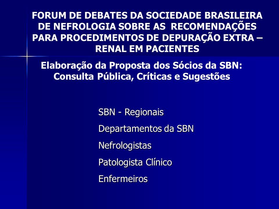 Elaboração da Proposta dos Sócios da SBN: Consulta Pública, Críticas e Sugestões FORUM DE DEBATES DA SOCIEDADE BRASILEIRA DE NEFROLOGIA SOBRE AS RECOM