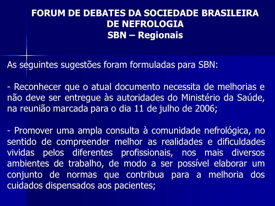 FORUM DE DEBATES DA SOCIEDADE BRASILEIRA DE NEFROLOGIA SBN – Regionais As seguintes sugestões foram formuladas para SBN: - Reconhecer que o atual docu