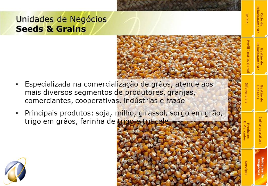 Especializada na comercialização de grãos, atende aos mais diversos segmentos de produtores, granjas, comerciantes, cooperativas, indústrias e trade P