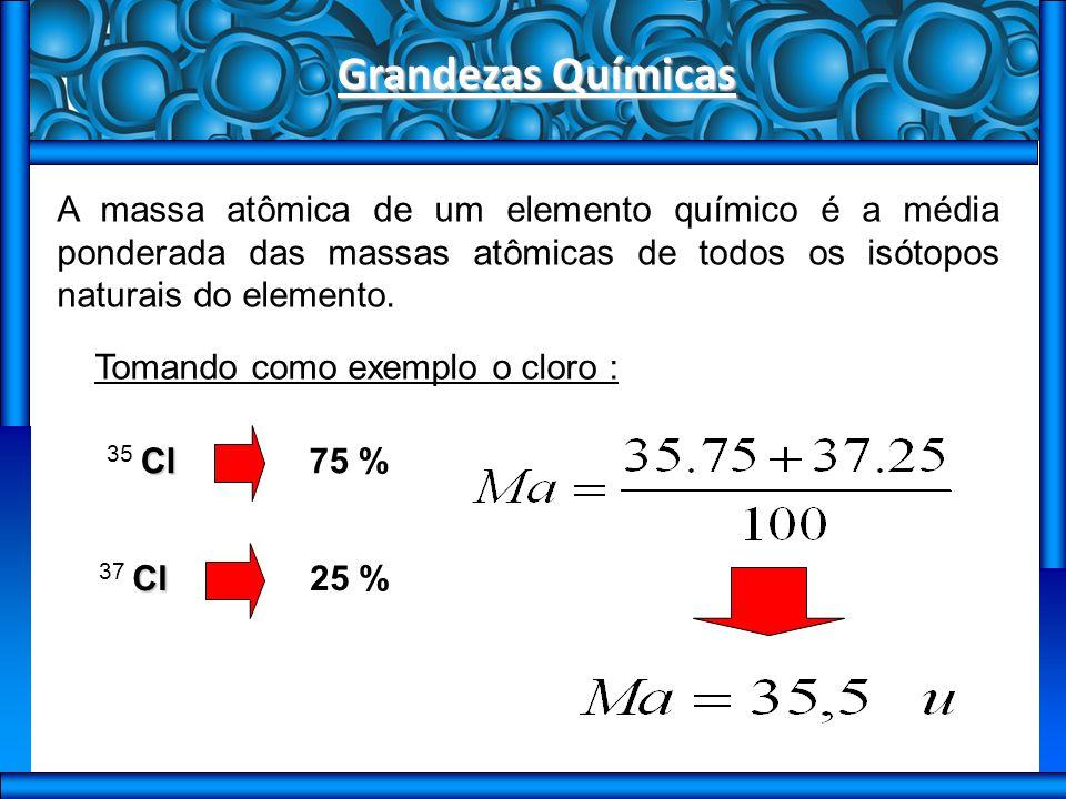 Grandezas Químicas A massa atômica de um elemento químico é a média ponderada das massas atômicas de todos os isótopos naturais do elemento.
