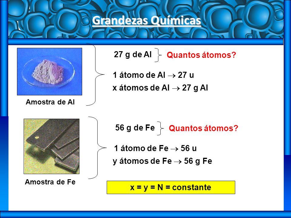 Grandezas Químicas Amostra de Al 27 g de Al Quantos átomos.