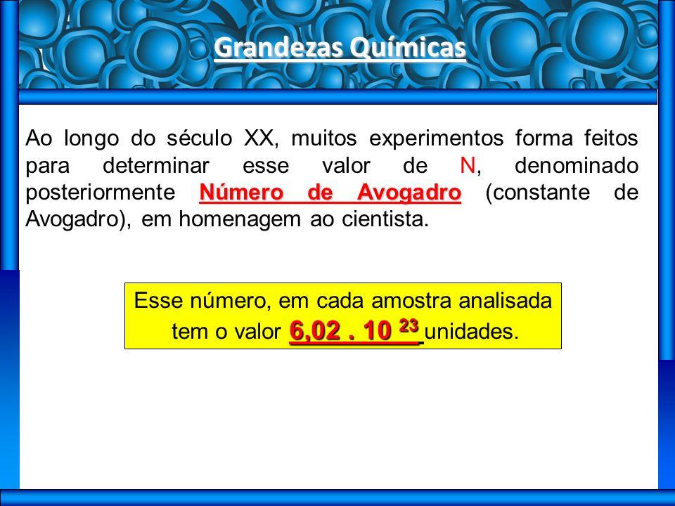 Grandezas Químicas Número de Avogadro Ao longo do século XX, muitos experimentos forma feitos para determinar esse valor de N, denominado posteriormente Número de Avogadro (constante de Avogadro), em homenagem ao cientista.