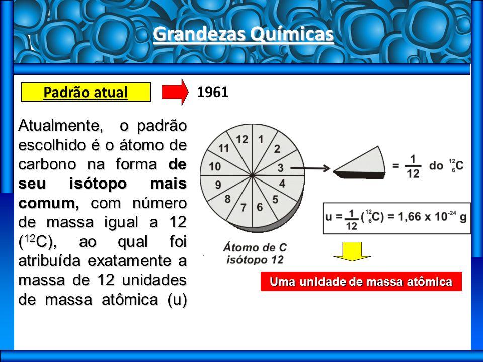 Grandezas Químicas Padrão atual Atualmente, o padrão escolhido é o átomo de carbono na forma de seu isótopo mais comum, com número de massa igual a 12 ( 12 C), ao qual foi atribuída exatamente a massa de 12 unidades de massa atômica (u) 1961 Uma unidade de massa atômica