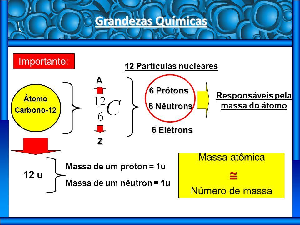 Grandezas Químicas Importante: ÁtomoCarbono-12 A Z 6 Prótons 6 Nêutrons 6 Elétrons 12 Partículas nucleares Responsáveis pela massa do átomo 12 u Massa de um próton = 1u Massa de um nêutron = 1u Massa atômica Número de massa