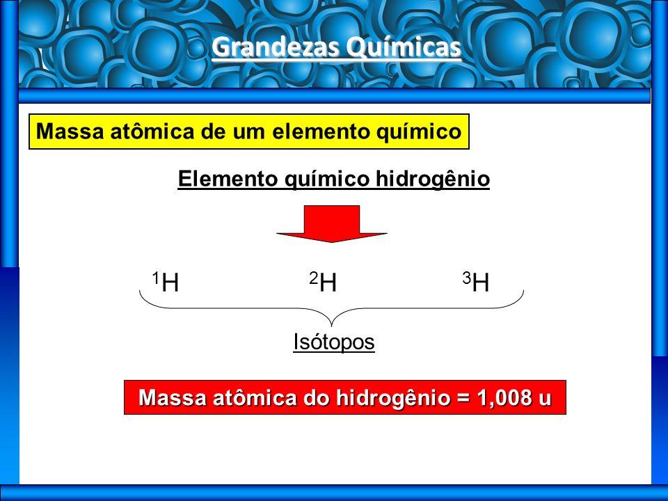 Grandezas Químicas Massa atômica de um elemento químico Elemento químico hidrogênio 1H1H 2H2H 3H3H Isótopos Massa atômica do hidrogênio = 1,008 u