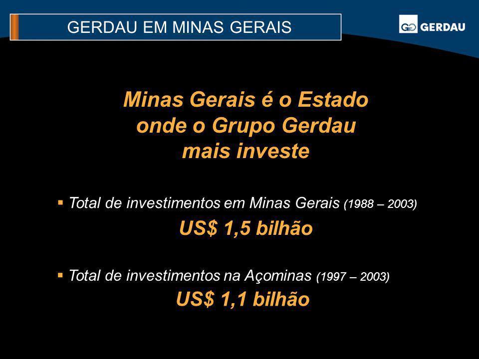 Total de investimentos em Minas Gerais (1988 – 2003) US$ 1,5 bilhão Minas Gerais é o Estado onde o Grupo Gerdau mais investe Total de investimentos na